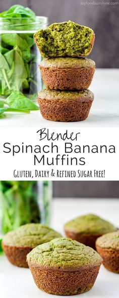 Kids Meals These blender Spinach Banana Muffins are an easy, healthy, freezer-friendly breakfast full of fruit and veggies! A recipe that your kids will love! Plus they're gluten-free, dairy-free and refined sugar free with a vegan option! Spinach Muffins, Veggie Muffins, Healthy Breakfast Muffins, Breakfast For Kids, Best Breakfast, Breakfast Recipes, Breakfast Casserole, Breakfast Fruit, Breakfast Ideas
