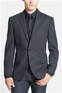 John Varvatos Star USA - Moda Charcoal Glen Plaid Wool Blazer: The fit is trim and contemporary, perfect for a stylish night out.