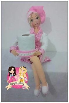 Discover thousands of images about Fabric Dolls, Paper Dolls, Clothes Crafts, Doll Clothes, Foam Crafts, Diy And Crafts, Toliet Paper Holder, Bath Doll, Fabric Basket Tutorial