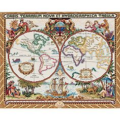 DIY Olde World Map Counted Cross Stitch Kit... $27.80