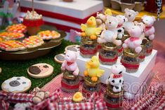 Cute animal candy jars at a farm party! See more party planning ideas at CatchMyParty.com!
