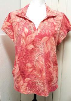 Caribbean Joe Pink Short Sleeve Floral Hawaiian Shirt Size XL  Island Supply Co #CaribbeanJoe #PoloShirt #Casual
