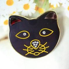 Cat Brooch Black - One Size