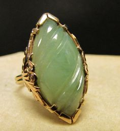 Vintage Estate Ming's of Honolulu Thick Carved Jade Ring by Alohamemorabilia