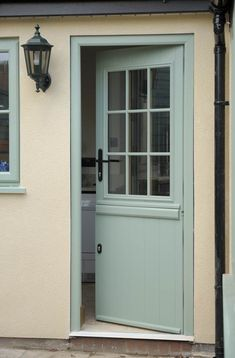 Sage green stable door (at the milford window company). Would make a lovely back door into a garden. Garage Door Design, Garage Doors, Upvc Stable Doors, Front Door Images, Aluminium Front Door, Window Company, Cottage Door, Composite Door, External Doors