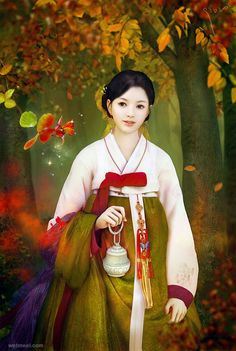 30 Mind-Blowing Fantasy Girl Artworks by Kjun and Creative Pictures, Asian Art, Korean Traditional, Art Girl, Art, Korean Painting, Blog Photography, Fantasy Girl, Korean Illustration