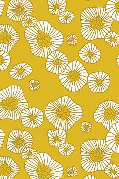 Colorful retro summer blossom scandinavian vintage style florals illustration print in mustard by littlesmilemakers.  Available on fabric, wallpaper, and gift wrap.