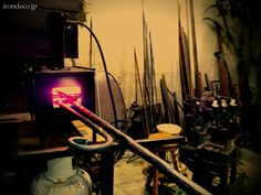 I like metal shops. I love a blacksmith. Here-- we have a photo of a forge and it's beautiful! Ahhh..... happiness is!