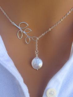 Freshwater Coin Pearl Lariat Necklace. Starting at $5 on Tophatter.com!
