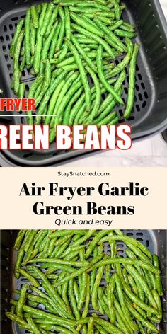 Air Fryer Garlic Roasted Green Beans is a quick and easy recipe that is the perfect side dish for your weeknight dinner You can also serve this keto dish crispy or fried and toss in crumbled bacon if you wish AirFryerGreenBeans Air Fried Green Beans, Roasted Green Beans, Cracked Green Beans, Paleo Green Beans, Pasta With Green Beans, Grilled Green Beans, Stir Fry Green Beans, Garlic Green Beans, Air Fryer Dinner Recipes