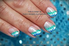 Gelish Holiday Blue Abstract nails by www.funkyfingersfactory.com