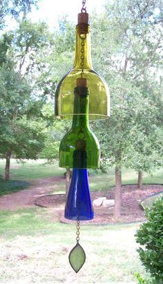 Botella de vino la campanilla de viento reciclado por CDChilds