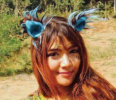Fox Clip on Ears Wild Teal Festival Headwear  by KritterKlips