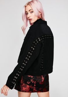TIC TOC Free, fast shipping on Lace Up Denim Jacket at Dolls Kill, an online boutique for trendy & street style clothing. Shop fast fashion clothes & accessories here.