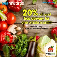 1 Jul-30 Sep 2015: Yes 4G Happy Fresh 20% Off & FREE Delivery Promotion