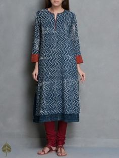 Indigo-Maroon Natural Dye Ajrakh Printed Cotton Double Layer Kurta by Jaypore