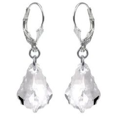 Swarovski Crystal Sterling Silver Leverback Dangle Earrings