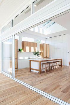 Modern white kitchen with matching wood flooring inside and out wood floors - wood floors wide plank Home Design, Design Hotel, Modern House Design, Home Interior Design, Design Ideas, Interior Modern, Minimalist Interior, Scandinavian Interior, Timber Flooring