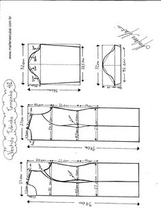 Esquema de modelagem de Vestido Tubinho tamanho 42. Draping Techniques, Sewing Techniques, Sewing Patterns Free, Clothing Patterns, Spanish Pattern, Knitting Paterns, Sewing Blouses, Sewing Pants, Dress Making Patterns