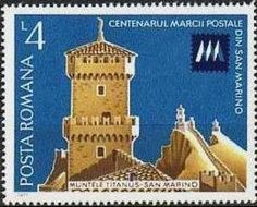 Sello: The three castles of Monte Titano, San Marino & badge (Rumanía) (Stamp Exhibition) Mi:RO 3441,Sn:RO 2730,Yt:RO 3039