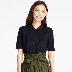 WOMEN Ribbed Short Sleeve Polo Shirt | UNIQLO
