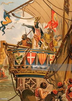 James I of Aragon (1208-1276). King of Aragon. Embarkation of James I to the conquest of Majorca, 1229. Engraving in Spanish Glorias, Ramon Molinas editor.