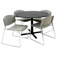 """42"""" Round Table With Wide Plastic Chairs - Mocha Walnut Table / Gray Chairs by REGENCY SEATING. $354.95. 42"""" Round Table with Wide Plastic Chairs - Mocha Walnut Table / Gray Chairs Configure your own lunchroom set to fit any dcor. Base is made using heavy duty metal with wide legs for stability. Base is 28""""H. 42"""" Round Table Top is 1"""" thick and easily attaches to base. Black base with Mocha Walnut top. Included chairs are stackable for compact storage and easy tra..."""