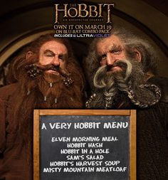Tell your guests what's for dinner with a Hobbit inspired DIY chalkboard menu. Chalkboard paint and chalk can be found at your local craft store. See the Hobbit Recipe Pinterest board for more ideas: http://pinterest.com/warnerbrosent/hobbit-inspired-recipes/