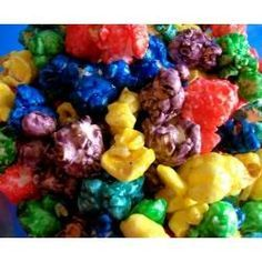 Koolaid Popcorn! Just made this and I must say its pretty friggin awesome! I made 1/2 the syrup recipe and it was a lot. I'd say if ur gonna make more than one color make 1/4 of the recipe for each color.