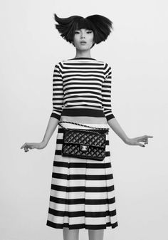 CR Fashion Book has our eye, especially in the direct creative hands of Carine Roitfeld. Classic: Stripes and Chanel 1 Girl, First Girl, Book Girl, Stripes Fashion, White Fashion, Mode Style, Style Me, Foto Fashion, Carine Roitfeld