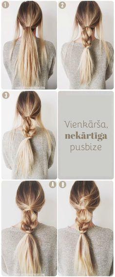 Saņem matus astē un atstāj malās divas šķipsnas. Sapin īsu bizi un tās sākumu aptin ar šķipsnām.