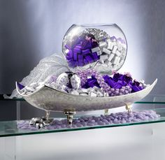 Silver arrangement with purple decorations by Patchi