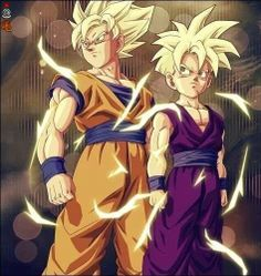 Goku and Gohan. I always loved how Gohan's Super Saiyan hair was a reflection of his father's normal hair.