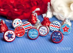 4th of July hershey kiss labels for a party favor