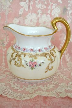 Stunning Antique Limoges France Porcelain Pitcher