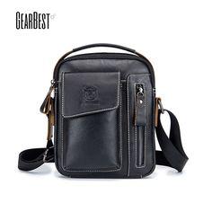 fc317c8b8348 BULLCAPTAIN Men Genuine Leather Shoulder Bag