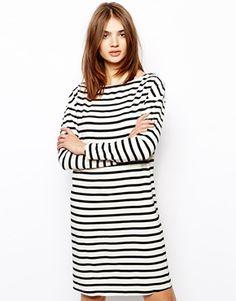 BZR Dress with Shoulder Zip Detail in Stripe