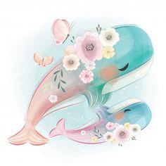 Cute mom and baby whale dancing together . Cute Animal Drawings, Cute Drawings, Cartoon Art, Cute Cartoon, Art Mignon, Baby Whale, Cute Whales, Baby Illustration, Baby Art