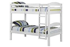 Solid Wood Twin Over Twin Bunk Bed - White - Saracina Home : Target Solid Wood Bunk Beds, White Bunk Beds, Modern Bunk Beds, Bunk Beds With Stairs, Twin Bunk Beds, Kids Bunk Beds, Twin Twin, Loft Beds, Modern Bedding