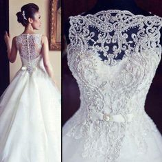 BacklakeGirls Vintage Wedding Dress Beaded Court Train 2017 See Scoop Neck Sleeveless Sexy A Line Bride Gowns