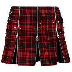 MacPoppy Skirt ($120) ❤ liked on Polyvore featuring skirts, red knee length skirt, punk skirt, lattice skirting, metal skirting and red skirt