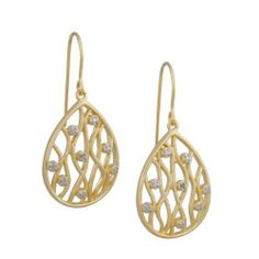 18k Yellow Gold Plated Sterling Silver Diamond Accent Filigree Teardrop Dangle Wire Earrings Amazon Curated Collection. $36.00. Made in China. All our diamond suppliers certify that to their best knowledge their diamonds are not conflict diamonds.. Save 72%!