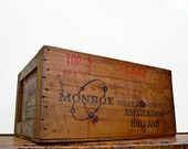Vintage Wood Crate, Monroe Calculating Machine CO, Amsterdam, Holland