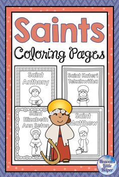 These printable coloring pages of Catholic Saints are perfect for young kids. They have a simple layout that includes an image of the saint, their name and a border that can be colored. Even the littlest Catholics can celebrate feast days in a fun way. Catholic Saints For Kids, Catholic Baptism, Catholic Religious Education, Catholic Crafts, Easy Coloring Pages, Printable Coloring Pages, Coloring Pages For Kids, All Saints Day, Kindergarten Fun