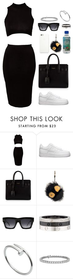 """""""."""" by owl00 ❤ liked on Polyvore featuring Club L, NIKE, Yves Saint Laurent, Black Apple, Fendi, CÉLINE, Cartier and Blue Nile"""