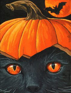 Creepy BLACK Cat & Bat Halloween black cat pumpkin print from original oil painting Halloween So cute! I would put black sprinkles on the . Retro Halloween, Halloween Chat Noir, Halloween Kunst, Halloween Tags, Halloween Painting, Halloween Pictures, Holidays Halloween, Halloween Crafts, Happy Halloween