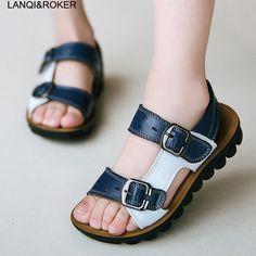 2017 New Fashion Children Sandals High Quality Boys Beach Sandals Antislip  Summer Leather Sandals Size 26 62040abb64ac