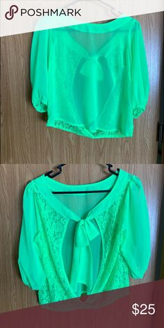 32209414584cb Lime Green Boutique Point Blouse Bright lime green Point blouse. Bought  from boutique. NWOT