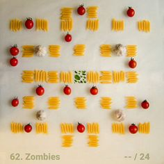 Level 62 made out of 🍅 #cherrytomatoes, #pasta and #garlic.  Download #syncomania for free at Google Play.   #androidgames #indiedev #googleplay #foodart