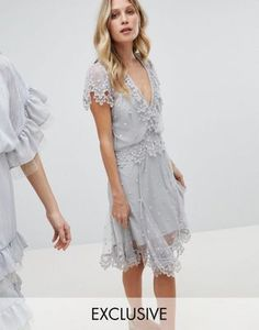 Stevie May Exclusive Hail Spot Mini Dress With Embroidered Hem